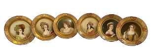 19th Century 6 pc Porcelain Cabinet Plates