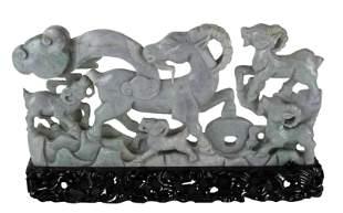 Chinese Jadeite Ram Group