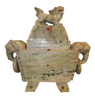 Chinese Carved Jade Incense Burner 33