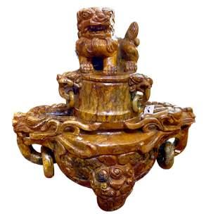 Large Chinese Carved Jade Incense Burner 31