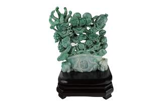 Multicolor Chinese Carved Jade Potted Plant
