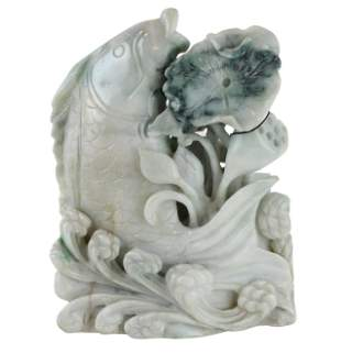 Chinese White Jade Fish and Flower Carving