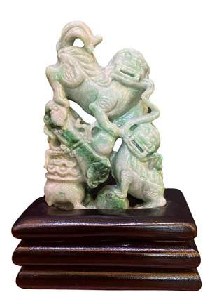 Chinese Carved Jade Foo Lions