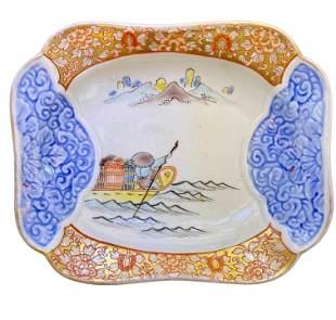 Japanese Imari Bowl Fishing Scenery Circa 1880