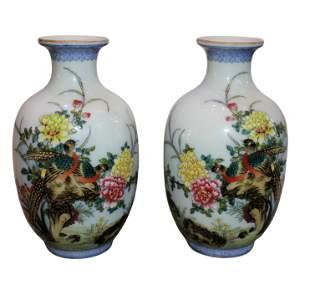 Qianlong Mark Enameling Birds and Flowers Vases Pair