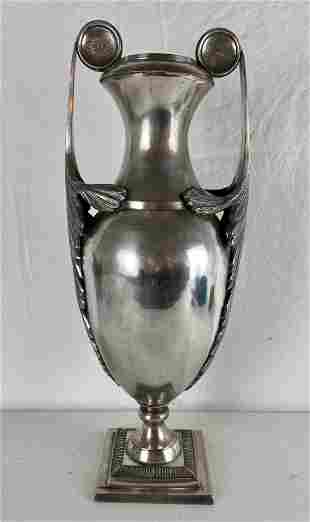 Large Silver Vase with Acanthus Leaf Handles