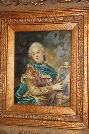 Oil Painting of an Aristocratic Woman with a Harp