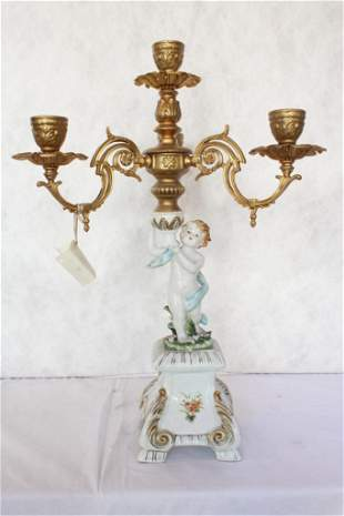 Large Hand Painted Ormolu Bronze and Porcelain