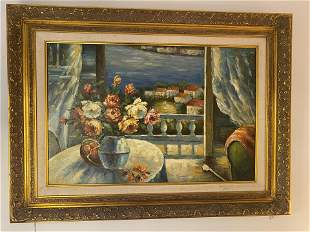 Gilt Framed Oil Painting Patio to the Mediterranean