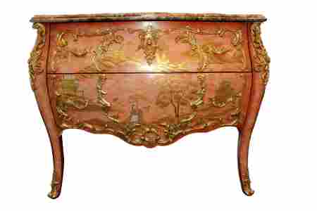 Ormolu Bronze Mounted Chinoiserie Commode with a Marble