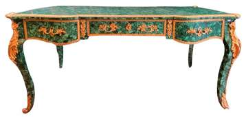 French Gilt Bronze Mounted Baroque Style Desk