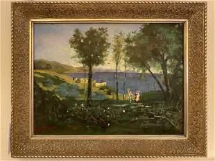 Seaside Couple Oil Painting