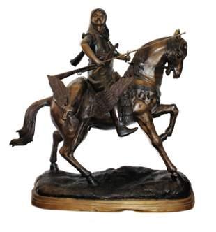 Bronze Arabian Hunter Mounted on Horse Sculpture After
