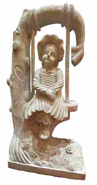Hand Carved Marble Girl on Swing Sculpture