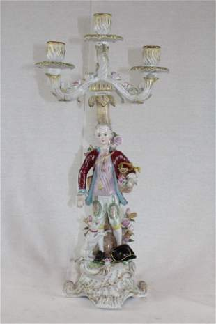 Young Man and his Dog Porcelain Candelabra