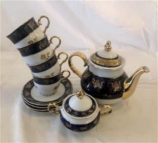 Vintage Hand Painted Porcelain Tea Set with 24kt Gold
