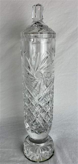 HAND CUT CRYSTAL VASE with lid