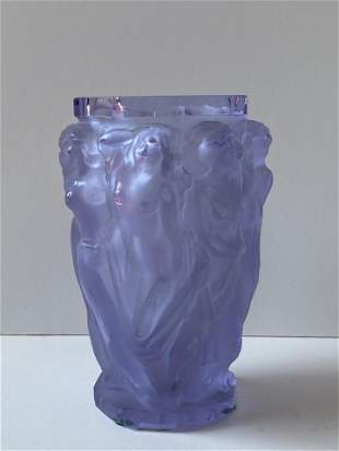 HAND CUT ART DECO CRYSTAL MUSES VASE