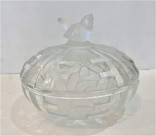 Art Deco Bohemian Crystal Powder Box with Sparrow