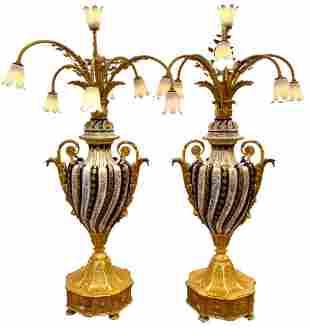 Pair of Tiche Porcelain Candelabra Lamps 7 Lights
