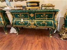 French Baroque Style Ormolu Mounted Malachite Chest of