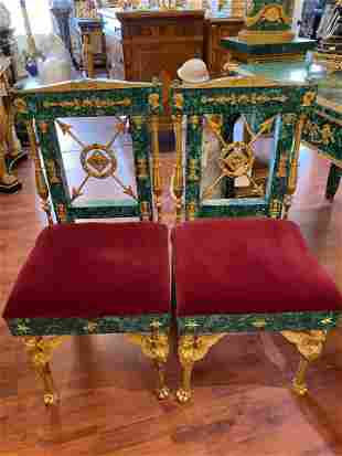 Pair of french Ormolu Mounted Malachite Chairs