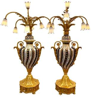 Pair Vintage Tiche Ormolu Mounted Porcelain Candelabra
