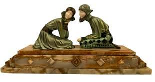 Art Deco Bronze Sculpture Tender Promises on Marble