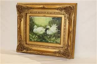 Gilt Frame Oil Painting of Swans