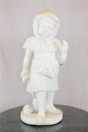 White Marble Little Girl with Dove