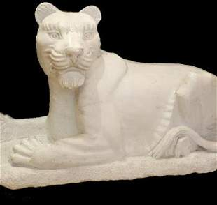 Hand Carved White Marble Lioness