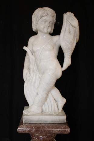 Calcutta Marble Statue of a Young Boy