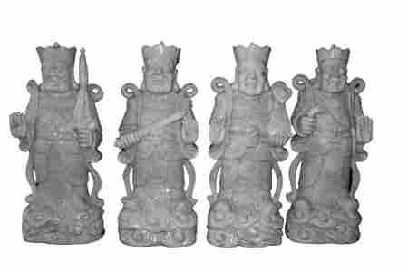 Set of 4 Chinese Carved Jade Kings