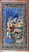 Hand Knotted Persian Isfahan Pictoral Rug 6 x 4