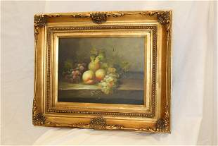 Gilt Frame Oil Painting of Fruit