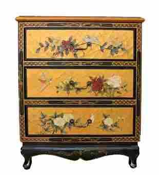 Vintage Lacquered Oriental Side Cabinet / Nightstand