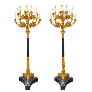 Pair Italian Baldi Lapis Lazuli /Gilt Bronze Torchieres