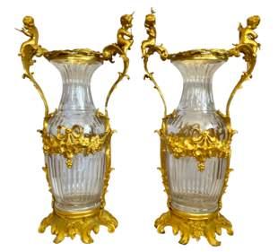 Large Pair of French Louis XVI Ormolu Mounted Crystal