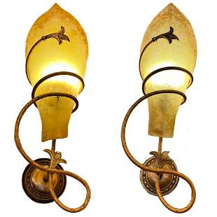 A Pair of Marble Wall Sconces