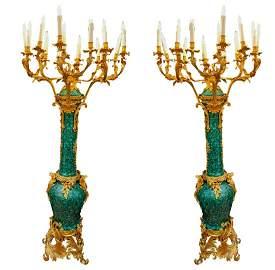 Pair of French Louis XV Style Ormolu Mounted Malachite