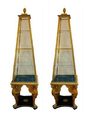 PR GILT-BRONZE & GLASS VITRINES OF RUSSIAN EMPIRE STYLE