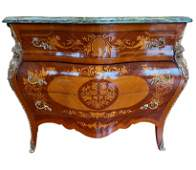 Marble Top Ormolu Mounted Marquetry Commode