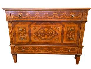 Marquetry Inlaid Wood Maggiolini Chest with Four (4)