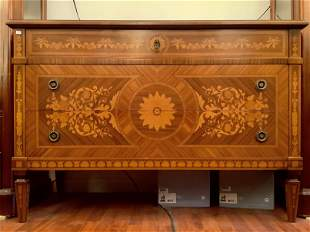 Marquetry Inlaid Wood Maggiolini Chest with Three (3)