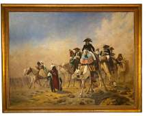 """Large Oil Painting """"Naploean and His Staff in Egypt"""""""