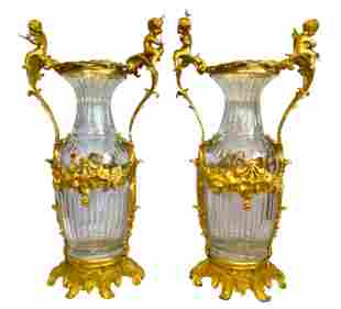 Large Pair of French Louis XVI Ormolu Mounted Crystal