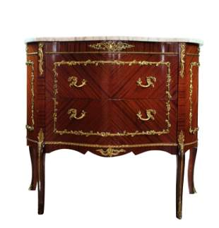 ORMOLU MOUNTED MARQUETRY COMMODE W/ MARBLE TOP .