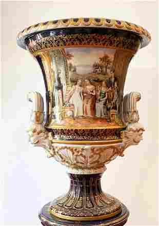 HAND PAINTED PORCELAIN ''URN'.