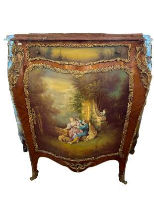 ORMOLU MOUNTED AND HAND PAINTED SCENERY COMMODE  WITH