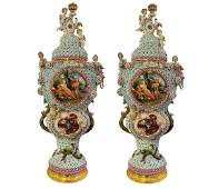 A Pair of Monumental Hand Painted Porcelain Flower